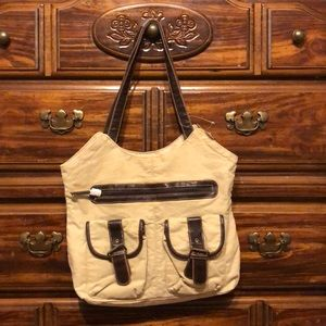 Khaki Purse with Buckles - new with tags
